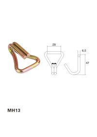 Metal Double J hook for cargo lashing/straps