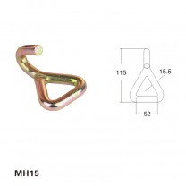 Metal single J hook for lashing strap(ratchet tie down)