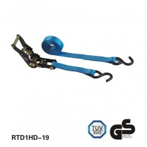 Czarny E-Coating Ratchet Tie Down with two S Hooks niebieskim paskiem