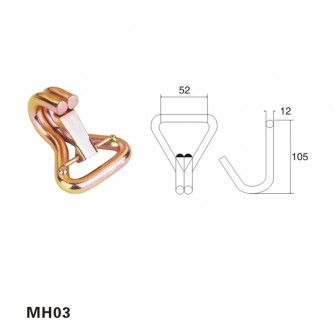 2 inch metal double J hook with latch MH03