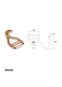2 inch Steel yellow zinc Double J Hook with Welded Bar MH06