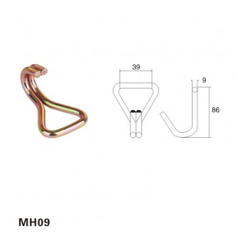 1.5 inch Hardware galvanized Double J Hook MH09
