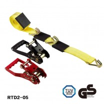 Rubber handle Ratchet Tie-Down Yellow Strap with Double J Hooks 2 inch x 20 feet