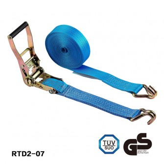 Ratchet  tie down Polyester lashing cargo strap with double J hooks