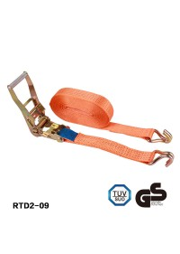Orange ratchet straps Aluminium handle 2 inch webbing width