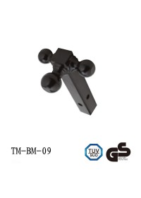 Tri-Ball Mount for 2 inch Hitches – Solid, Black Powder Coated Shank - Black Balls