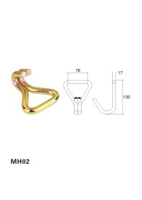 3 inch zinc plated double J hook end fitting