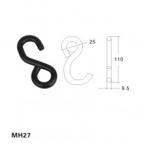 Plastic coated Black small S metal hook