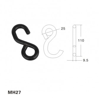 plastificata nero piccole s metal hook